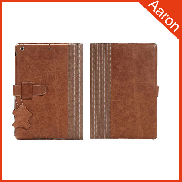 Genuine leather case Standing leather case for ipad air 2