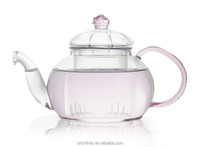 New Style Glass Tea pot with pink glass handle & flower lid