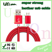 PU Leather Material Super Quality real 2.0A USB Data Cable 1M Fast Charging For Smart Phone