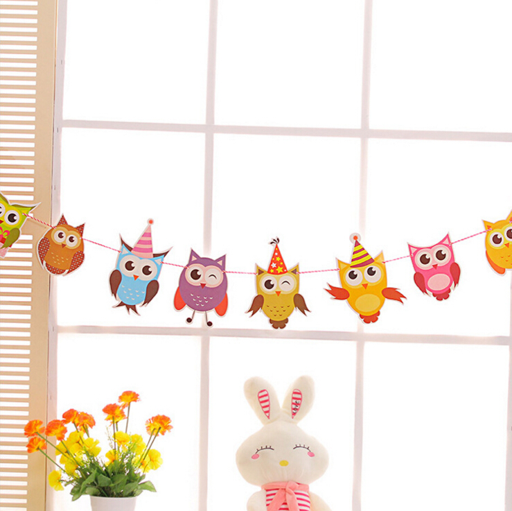 <strong>100</strong> Days Baby Party Decoration Garlands Owl Flags with String Dancing Girl Wings Hanging Bar