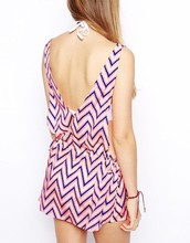 Deep V Neck Sleeveless Tie Side Tropical Beach Dress Chevron Chiffon Dresses