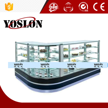 Yoslon glass refrigerated cake diplay showcase with factory price