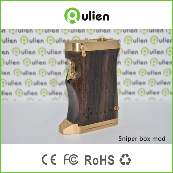 China repplier Rulien vape Ecig sniper box mod full mechanical/wooden 18650 battery sniper vapor