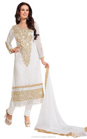 Off White Colored Embroidered Salwar Kameez