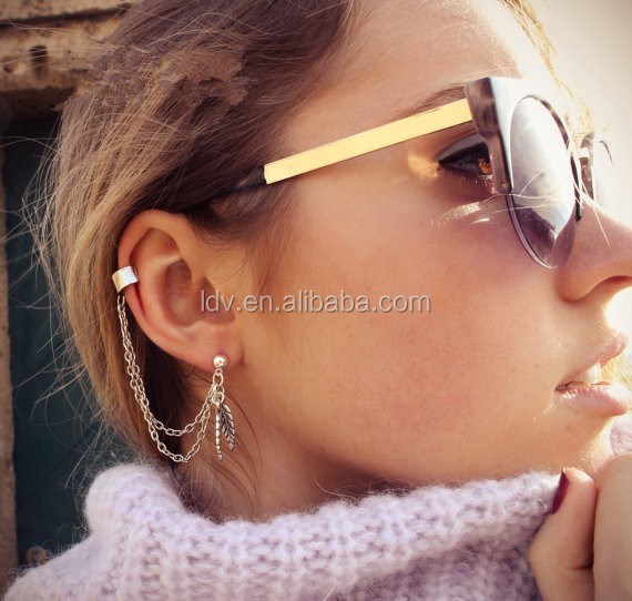Antic Silver Plating Leaf Shaped Alloy Chain Ear Cuff Earring