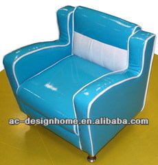 SKY BLUE PVC/WOODEN KID ONE SEAT SOFA