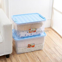 45L transparent Plastic storage box / storage container organizer box with colorful lid with wheel