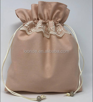 Rose peache lace dusty drawstring bag of gift
