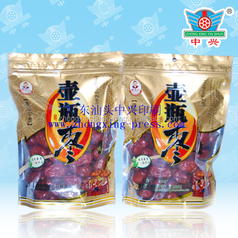 Custom wholesale de-metalized stand up pouch for day red date/chinese jujube packing bags