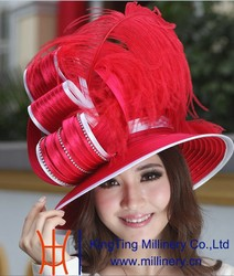 Red feather Church Hats For Adult Female