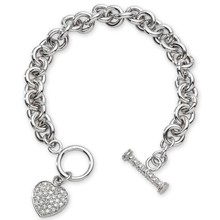 STERLING SILVER BRACELET WITH HANGING HEART