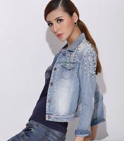 W90229A 2015 new fashion europe style women denim jacket ladies jeans coats