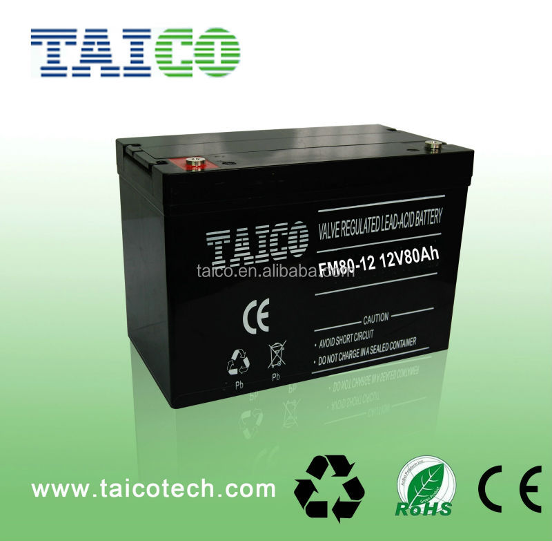 China Top 10 Manufacturer Supply Free AGM Solar Battery 12V 80AH