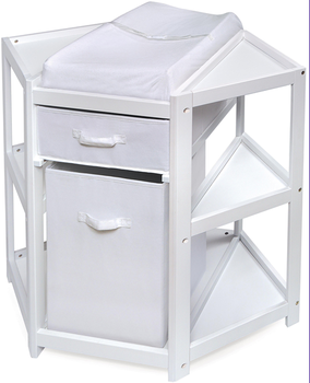 Corner Baby changing table furniture with Canvas storage box