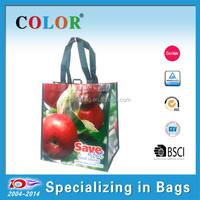 hot sale waterproof pp non woven shopping bag with hook, fruits printing