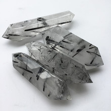 Natural Mixed size Black Rutilated Quartz Double Terminated points