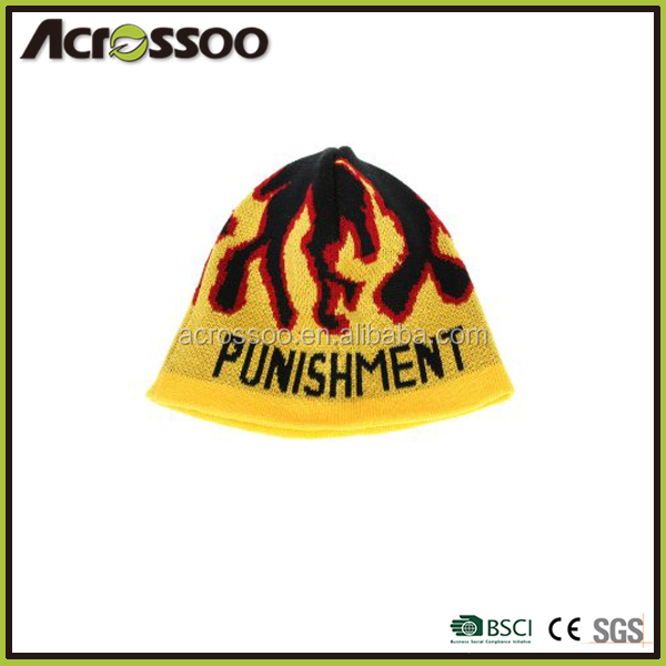 Thickness flame jacquard knitted hat, custom designed acrylic beanie