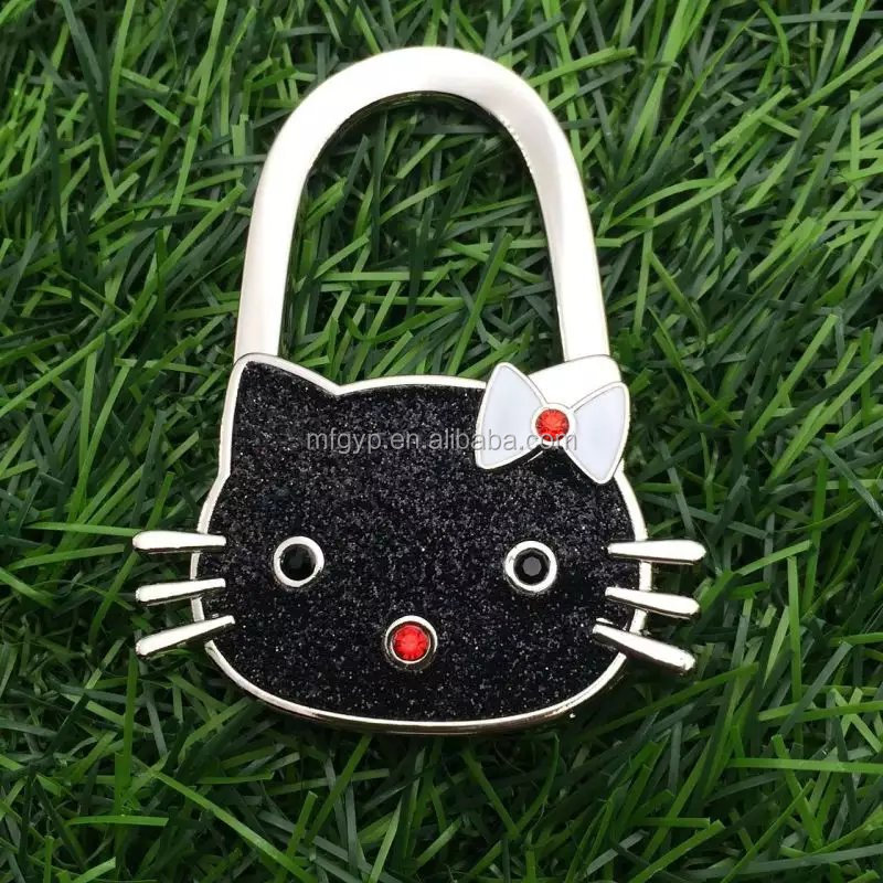 Most popular cat shape zinc alloy purse hook with colorful glitter