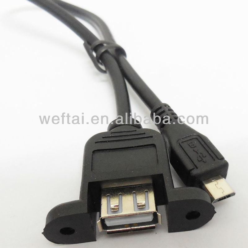 USB A Female Panel mount To Micro USB Cable