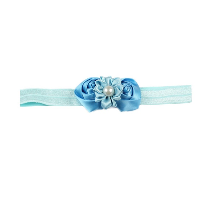 New Style Exquisite Fashion Rosebud Silk Pearl Baby Head Ornaments Hair Band