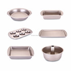 non stick golden coating bakeware set with different cake mould include roaster pan and baking pan