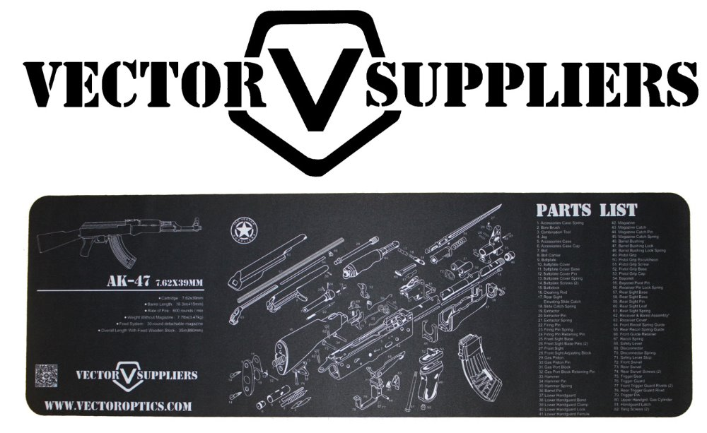 Vector Optics 36x12 Inch AK47 Cleaning Bench Rubber Mat AK 47 All Parts List Gun Smith Bench Pad