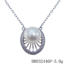 Silver Crystal Pearl Freshwater Pendant With Chain For Engagement DR032446P