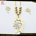 Fashion Gold Platd Stainless Steel Jeweleries Pendant and Earring Jewelry Set For Women