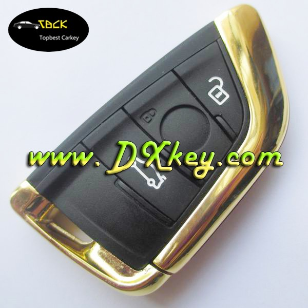 Topbest New Style key case for B-MW 3 button smart remote cover in Golden bmw key shell