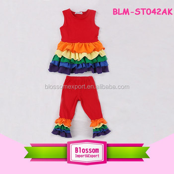 Baby Girls Ruffled Clothes Sleeveless Cotton Rainbow Dress Top Matching Ruffle Pants Easter Outfit For Kids