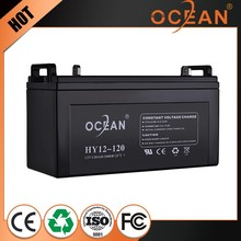 Rechargable 12V small 120ah sealed dry cell battery ups
