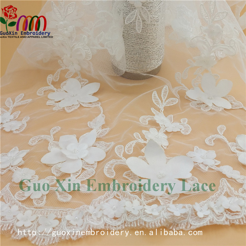 China wholesale fashion customized 3d embroidery flower french lace curtains