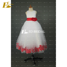 Latest Style Real Sample Made In China Red White Flower Girl Dresses 2017