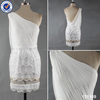 elegant chiffon lace pleating on shoulder beaded white cocktail party short dress