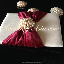 Luxury silk invitation - ivory color pad with wide velvet lace and pearl brooch