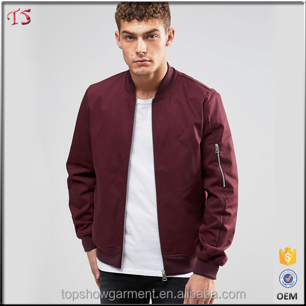 Garment factory mens fashion 2016 plain bomber jacket wholesale