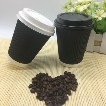 High quality ripple coffee paper cup double wall printed 8oz 12oz 16oz hot drink cups with lids