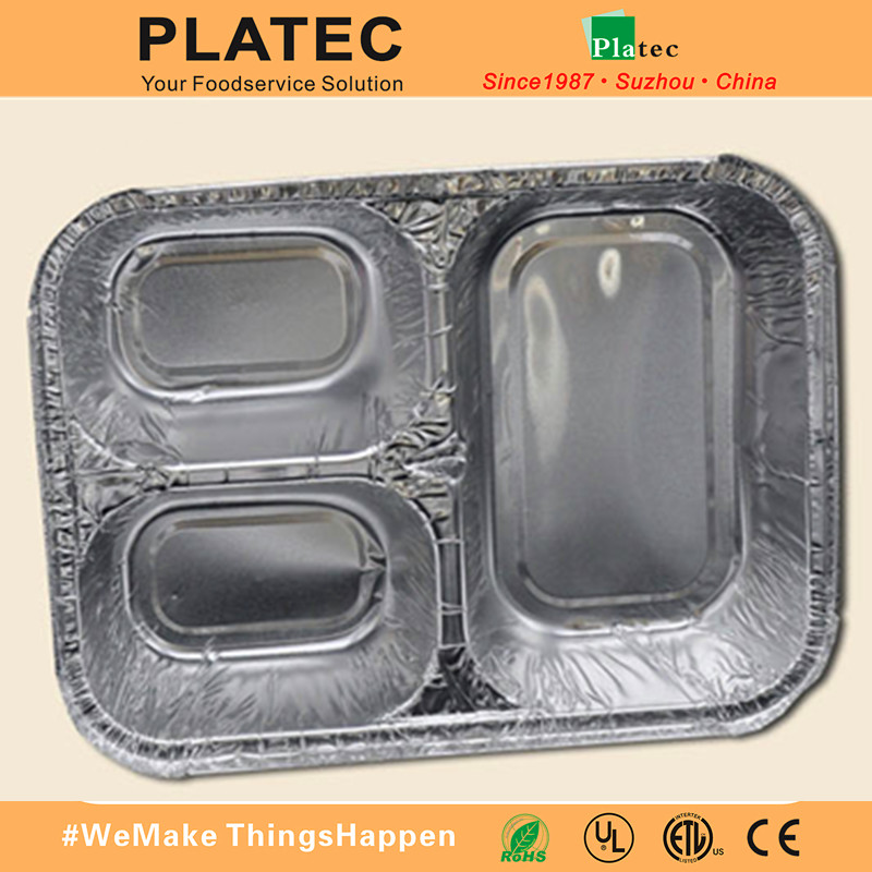 Oven and microwave safe flight meal aluminum tray with compartments