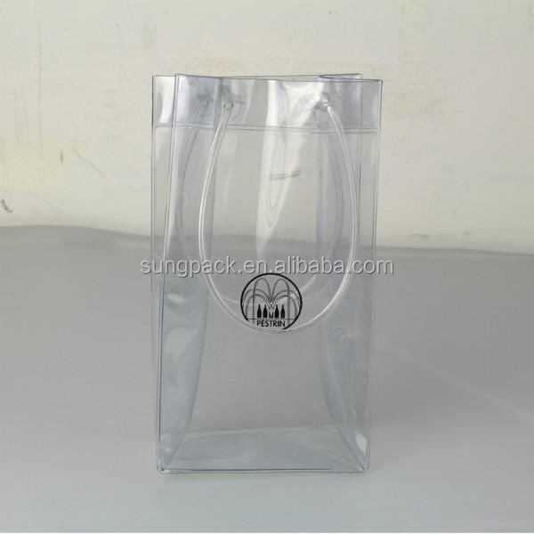 Clear Plastic PVC Wine Tote Bags with Handle Single Bottle Wine Pouch Ice Cooler Bag