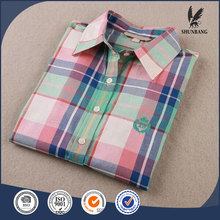 Buy direct from china factory long sleeve cotton shirt slim fit casual women fashion plaid shirt