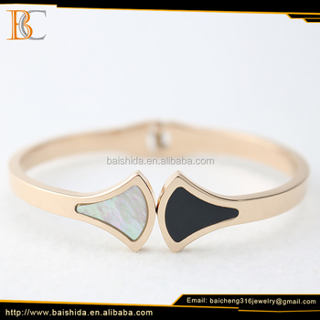 2017 new design rose gold bangle stainless steel jewelry manufacturer