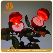 Unique flashing led light rose shape ring box ,Led light ring box perfect for wedding and valentine's day