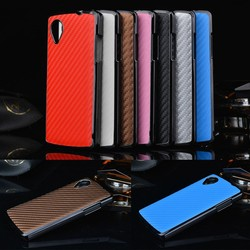 Luxury Carbon Fiber Leather Back Cover Hard Case For Google Nexus 5