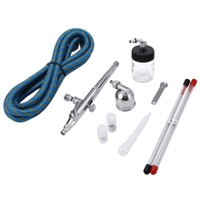 Portable 0.2mm / 0.3mm / 0.5mm Dual Action <strong>Airbrush</strong> Air Compressor Kit Craft Cake Paint Art Spray Gun Set