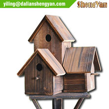 New Garden Wooden Decorative Triple Bird Houses Kits Wholesale