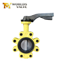 High performance 3000mm duplex stainless steel exhaust type lug butterfly valve handles with hand lever