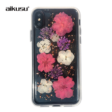 aikusu mobile phone accessories real dry flower epoxy soft tpu pc transparent case cover for iPhone 6 6s 7 8 X