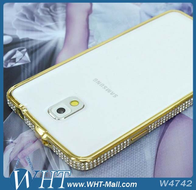 2014 Hot Fashion Luxury Sparkling Bling Diamond Aluminum Bumper Case For Samsung Galaxy Note 3 N9000 Wholesale
