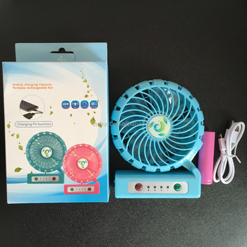 2017 new design Rechargeable cooling usb mini fan/Mini Portable Fan With Mobile Phone Charger Portable power bank
