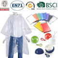 Disposable emergency PE rain poncho/100% waterproof PE rain poncho/PE rain poncho with ball